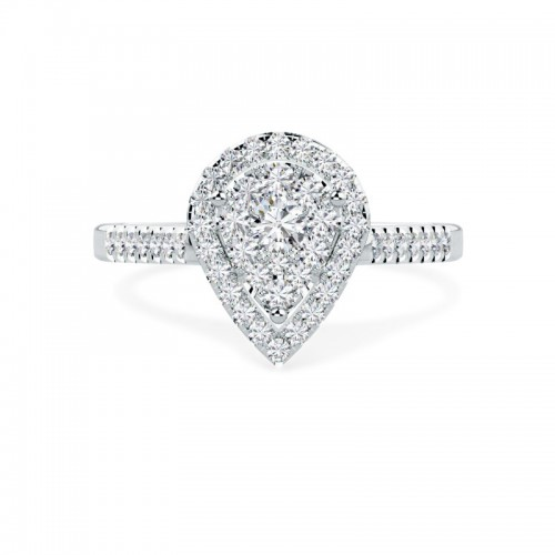 A stunning Round Brilliant Cut pear shaped halo diamond ring in 18ct white gold
