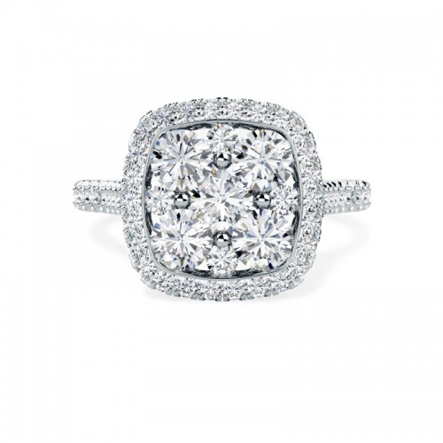 A stunning round brilliant cut cushion shaped halo diamond ring in 18ct white gold (In stock)