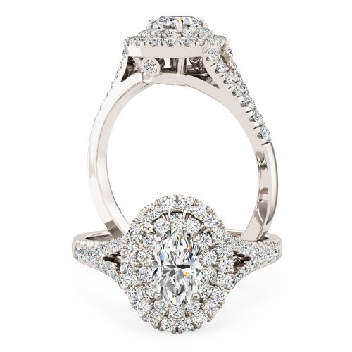 A luxurious Oval Cut double halo diamond ring with shoulder stones in 18ct white gold