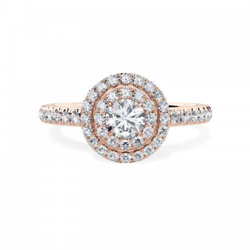 An exquisite Round Brilliant Cut diamond double halo cluster with shoulder stones in 18ct rose gold