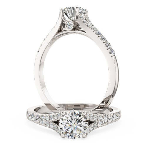 A stunning Round Brilliant Cut diamond ring with shoulder stones in 18ct white gold (In stock)