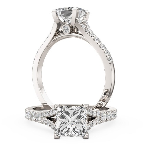 An exquisite Princess Cut diamond ring with shoulder stones in 18ct white gold