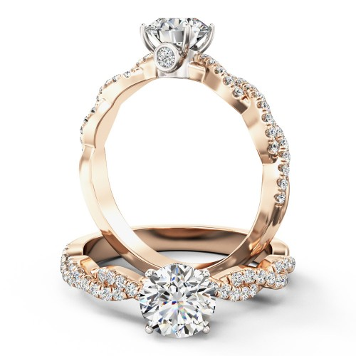 A beautiful Round Brilliant Cut diamond ring with shoulder stones in 18ct rose & white gold (In stock)