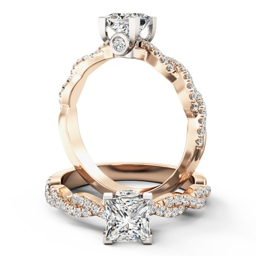 A beautiful Princess Cut diamond ring with shoulder stones in 18ct rose & white gold