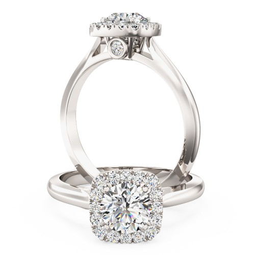 A stunning Round brilliant cut diamond cushion shaped Halo ring in platinum