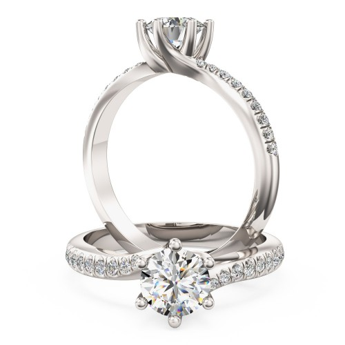 A stunning Round Brilliant Cut diamond ring with shoulder stones in platinum