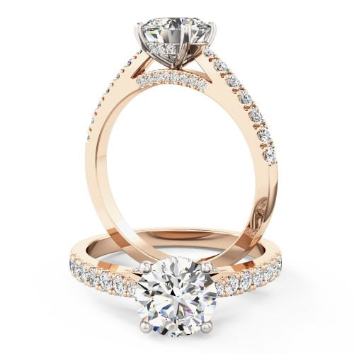 A beautiful Round Brilliant Cut diamond ring with side and shoulder stones in 18ct rose & white gold