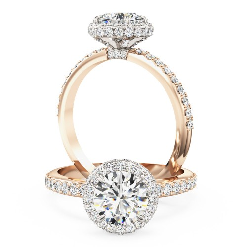 An Exquisite round brilliant cut diamond Halo ring with shoulder stones in 18ct rose & white gold