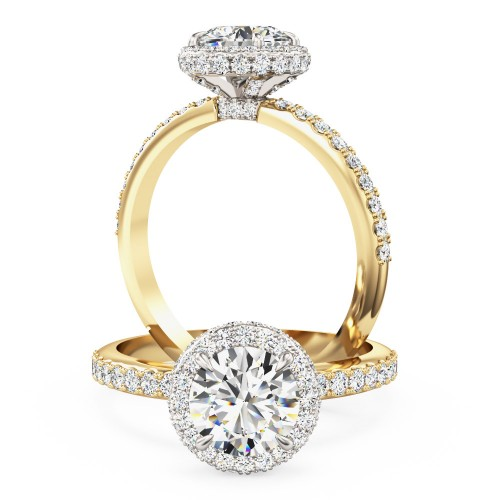 An Exquisite round brilliant cut diamond Halo ring with shoulder stones in 18ct yellow & white gold