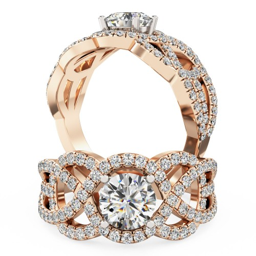 A luxurious Round Brilliant Cut diamond set ring in 18ct rose & white gold