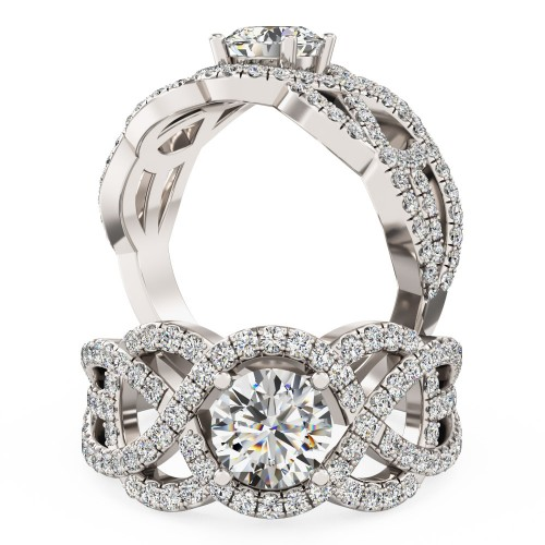 A luxurious Round Brilliant Cut diamond set ring in 18ct white gold