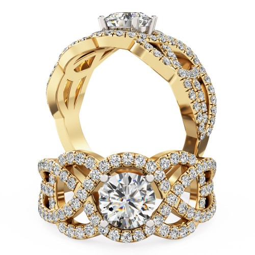 A luxurious Round Brilliant Cut diamond set ring in 18ct yellow & white gold