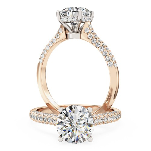 An exquisite solitaire diamond ring with shoulder stones in 18ct rose & white gold (In stock)