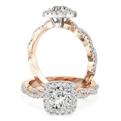 A stunning round brilliant cut diamond cushion shaped halo with shoulder stones in 18ct rose & white gold