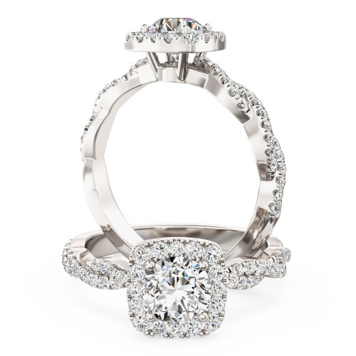 A stunning Round brilliant cut diamond cushion shaped Halo ring with shoulder stones in platinum