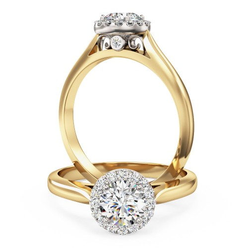 A stunning round brilliant cut diamond Halo ring in 18ct yellow & white gold