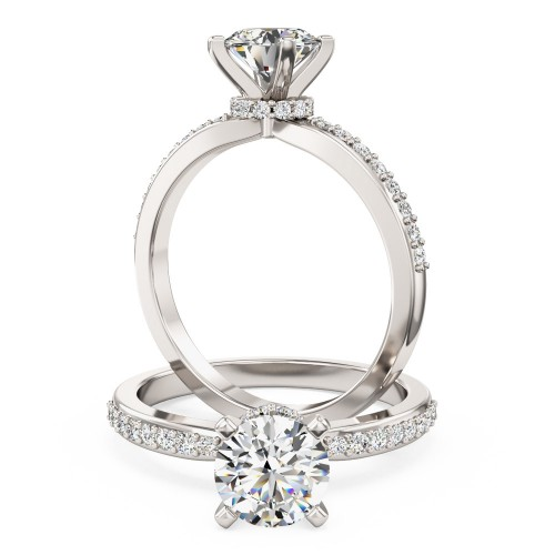 A stunning Round Brilliant Cut diamond ring with shoulder stones in platinum (In stock)