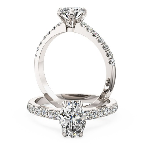 A stunning Oval cut diamond ring with shoulder stones in 18ct white gold