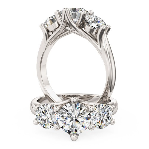 A stunning round brilliant cut three stone diamond ring in 18ct white gold