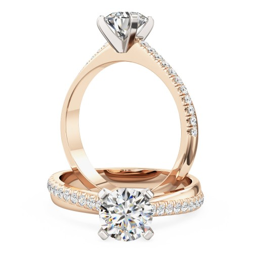 A stunning Round Brilliant Cut diamond ring with shoulder stones in 18ct rose & white gold (In stock)