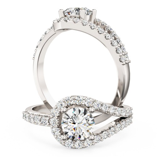 A dazzling diamond halo style ring with diamond shoulders in platinum
