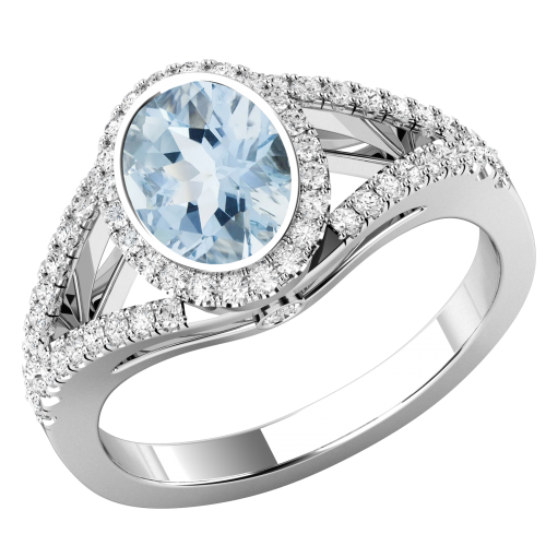 A stunning Aqua & diamond cluster style ring with shoulder stones in 18ct white gold