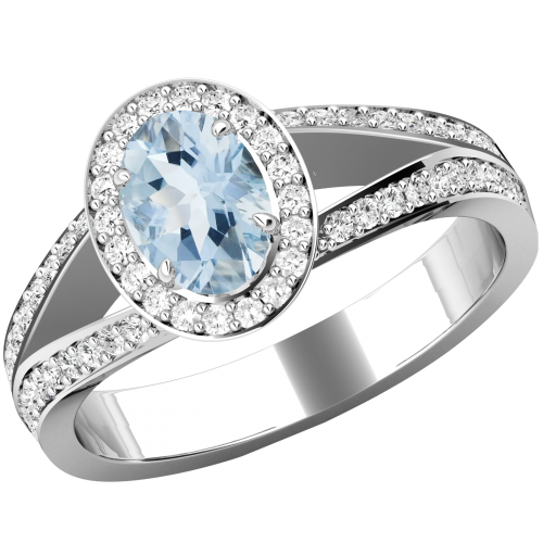 A beautiful Aqua & diamond cluster style ring with shoulder stones in 18ct white gold