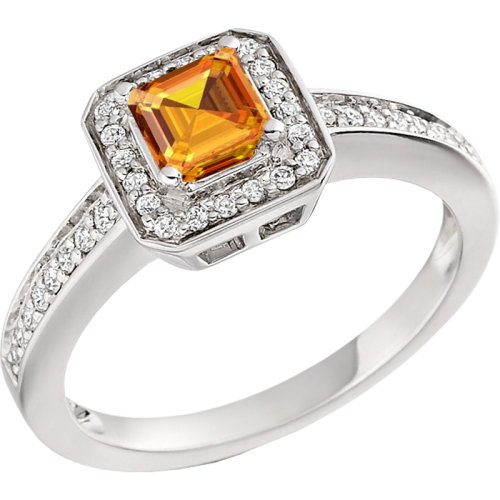 A beautiful Golden Citrine & Diamond cluster style ring in 18ct white gold