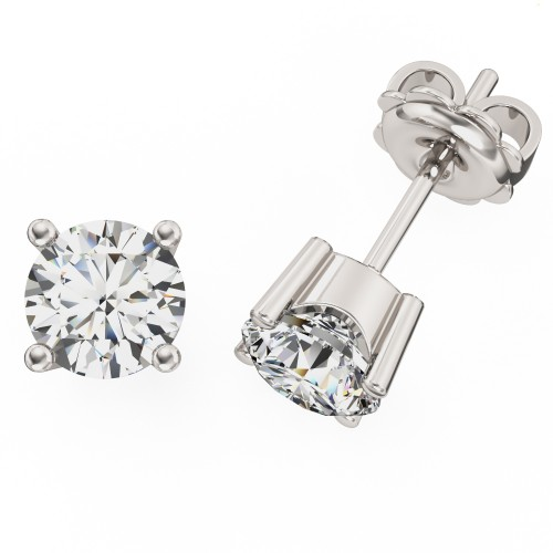 A classic pair of Round Brilliant Cut diamond earrings in 18ct white gold (In stock)
