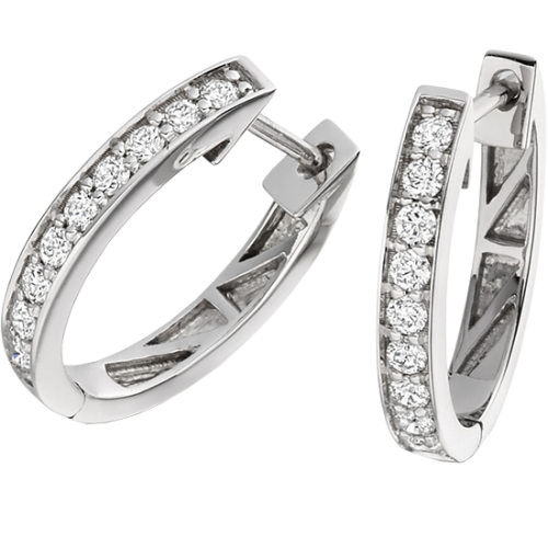 A stunning pair of Round Brilliant Cut diamond hoop earrings in 18ct white gold