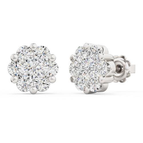 A striking pair of Round Brilliant Cut diamond Cluster earrings in 18ct white gold (In stock)