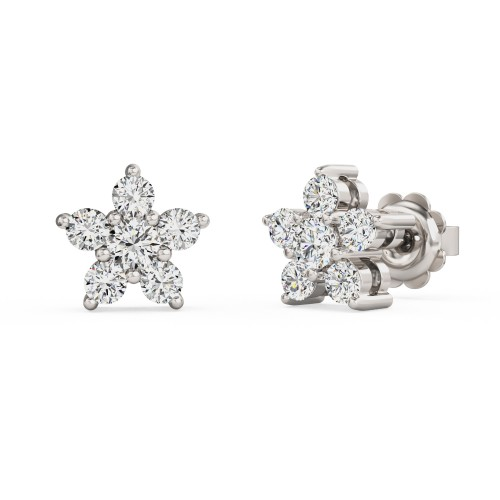 A striking pair of Round Brilliant Cut diamond earrings in 18ct white gold (In stock)