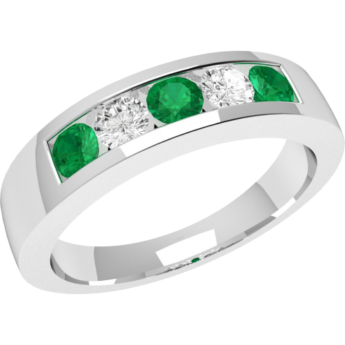 A beautiful Round Brilliant Cut emerald & diamond ring in 18ct white gold