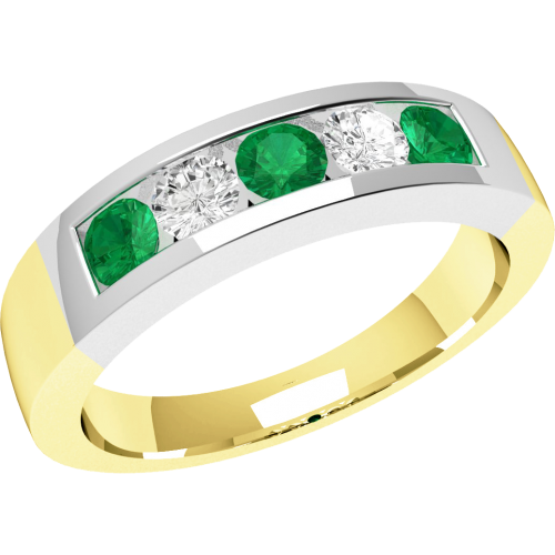 A beautiful Round Brilliant Cut emerald & diamond ring in 18ct yellow & white gold