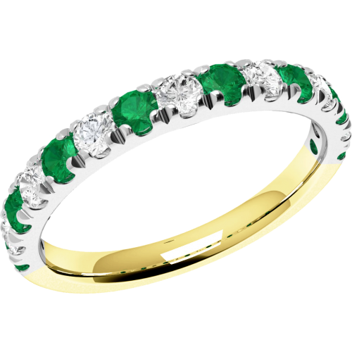 A beautiful Round Brilliant Cut emerald & diamond eternity ring in 18ct yellow & white gold