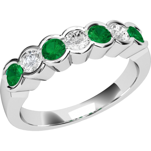 A stylish Round Brilliant Cut emerald & diamond eternity ring in 18ct white gold