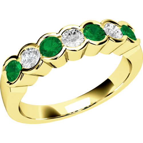 A stylish Round Brilliant Cut emerald & diamond eternity ring in 9ct yellow gold