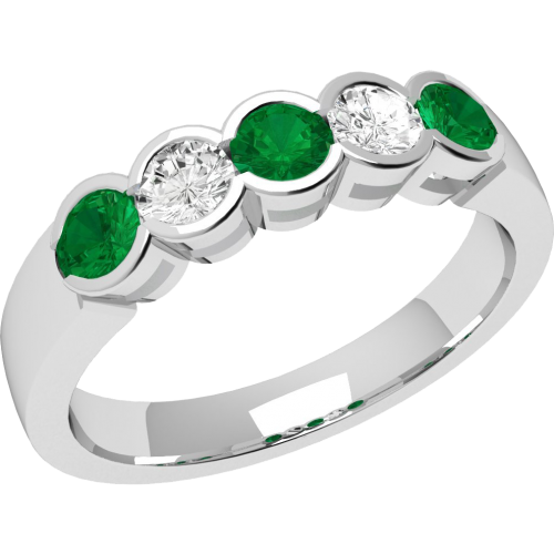 A stylish Round Brilliant Cut emerald & diamond eternity ring in 9ct white gold
