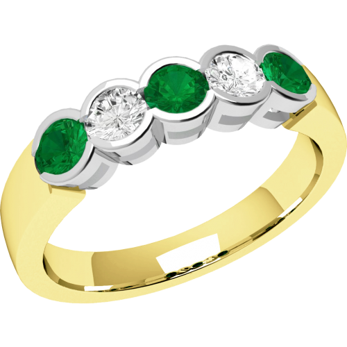 A stylish Round Brilliant Cut emerald & diamond eternity ring in 9ct yellow & white gold