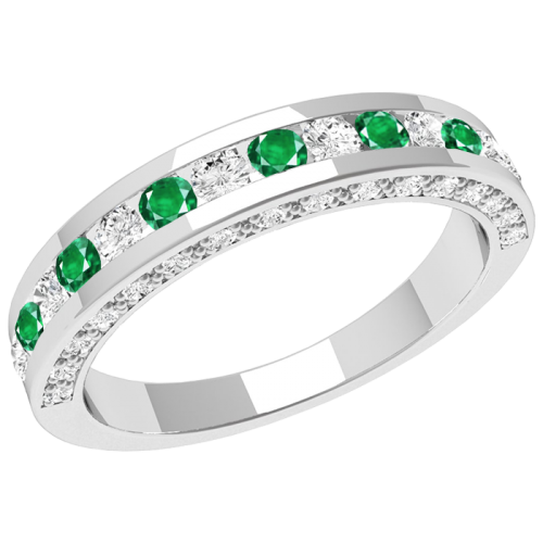 A breathtaking emerald & diamond eternity ring in 18ct white gold