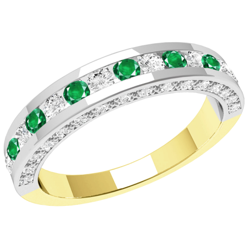 A breathtaking emerald & diamond eternity ring in 18ct yellow & white gold