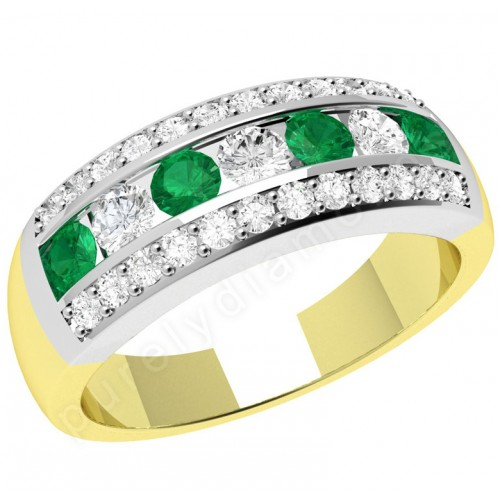 A stunning emerald & diamond cocktail ring in 18ct yellow & white gold