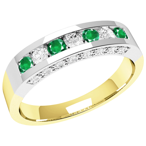 A luxurious emerald & diamond eternity ring in 18ct yellow & white gold