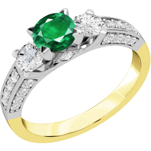 A luxurious emerald & diamond ring with shoulder stones in 18ct yellow & white gold