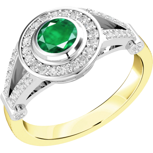 An elegant emerald & diamond cocktail ring in 18ct yellow & white gold