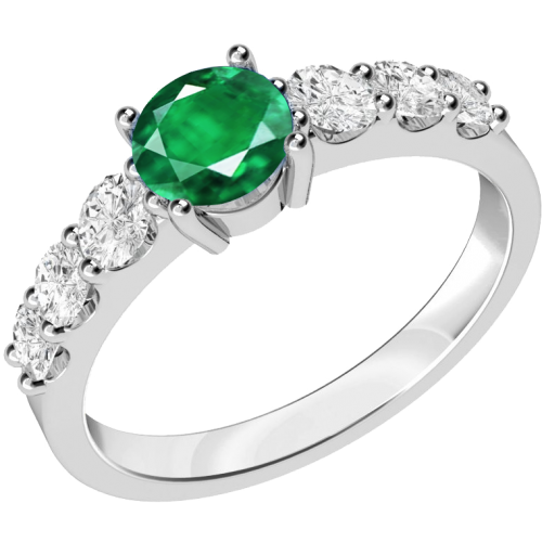 A stunning emerald ring with diamond shoulder stones in 18ct white gold