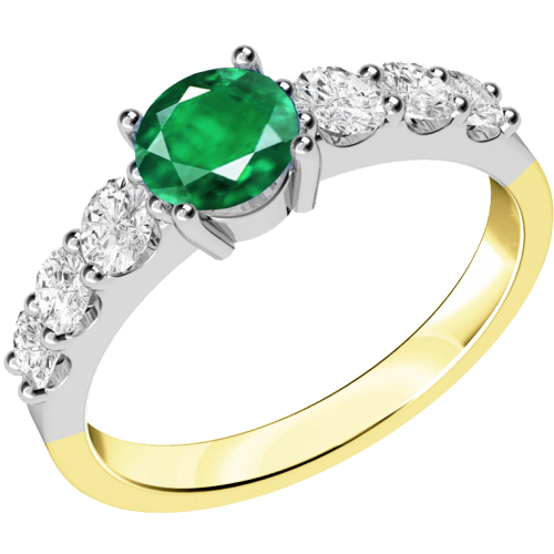 A stunning emerald ring with diamond shoulder stones in 18ct yellow & white gold