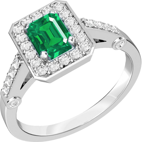 A stylish emerald & diamond cocktail ring in 18ct white gold