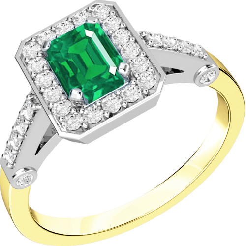 A stylish emerald & diamond cocktail ring in 18ct yellow & white gold