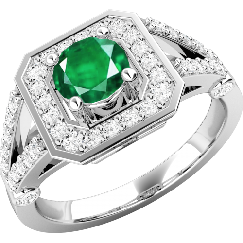 A stunning emerald & diamond cocktail ring in 18ct white gold